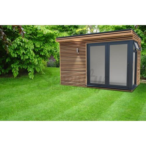12' x 8' Canopy Horizontal Shadow gap cladding with corner doors/window