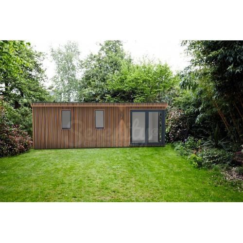 24' x 8' Canopy Vertical Shadow gap cladding with corner doors/window