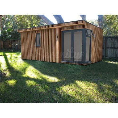6 x 3 m Canopy Vertical Shadow gap cladding with corner doors/window